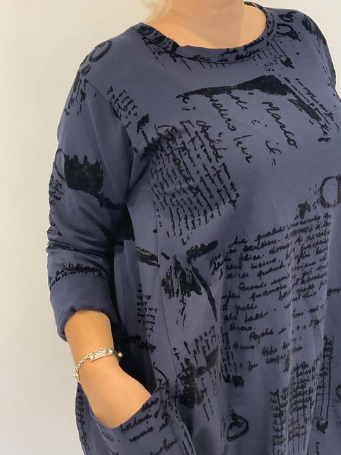 Navy writing pattern dress