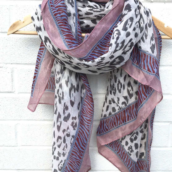 pink and soft grey leopard scarf