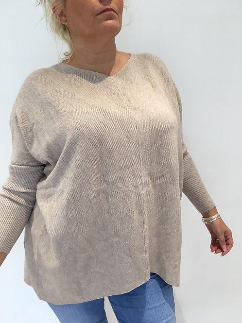 Oatmeal ribbed soft jumper