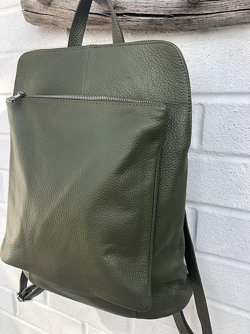 Olive leather back pack