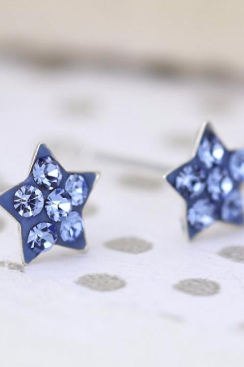 Sterling silver blue crystal star earrings