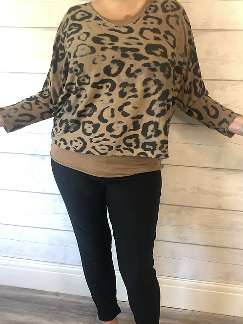 Camel leopard 2 piece vest set
