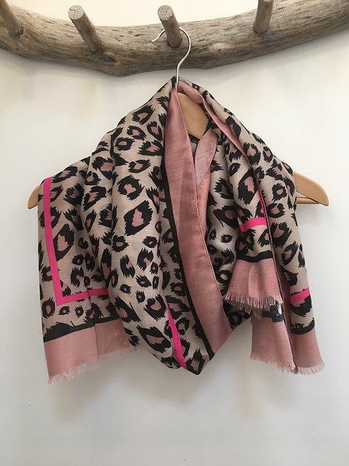 Pink leopard scarf