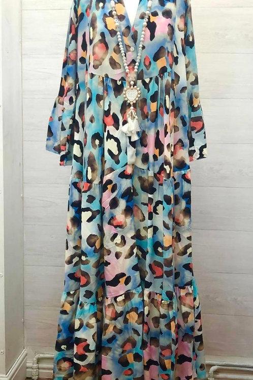 Blue leopard dress