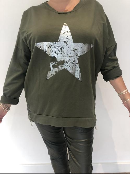 Khaki star sweatshirt