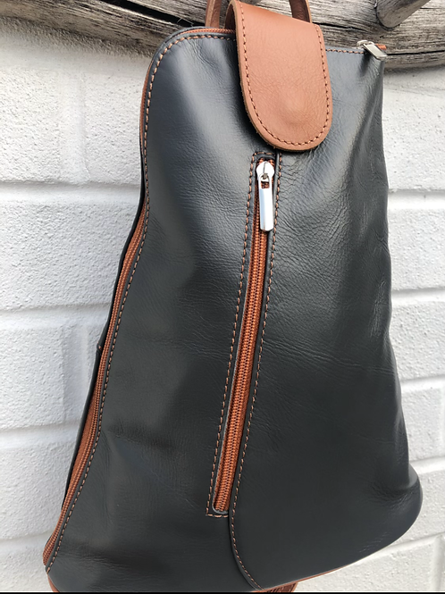 tan trim leather backpack