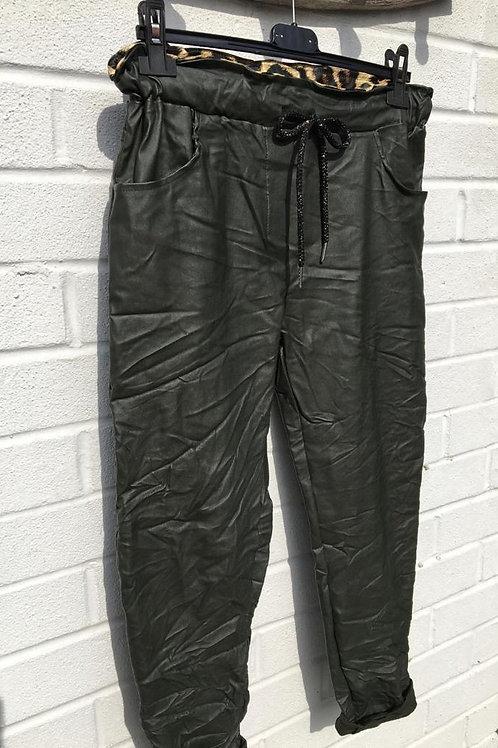 Khaki faux leather trousers