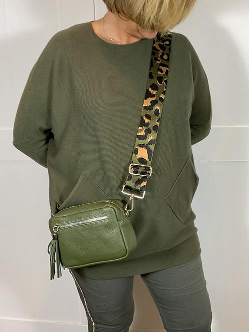 Khaki leather camo strap bag