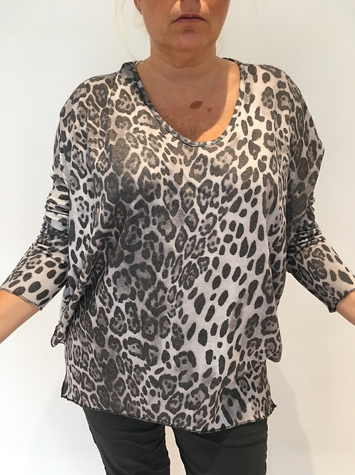 Grey leopard soft jumper