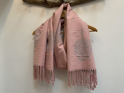 Pink/grey tree of life scarf