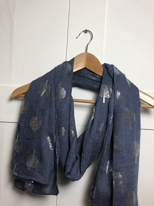 Blue foil tree of life scarf