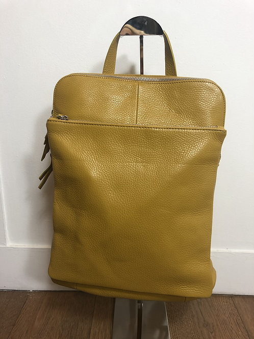 Mustard leather back pack