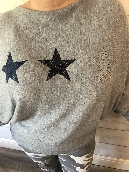 Silver grey star jumper