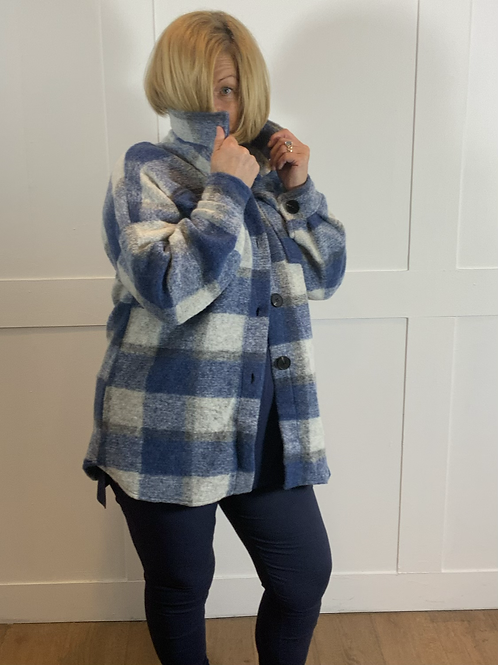 Blue check woolly jacket