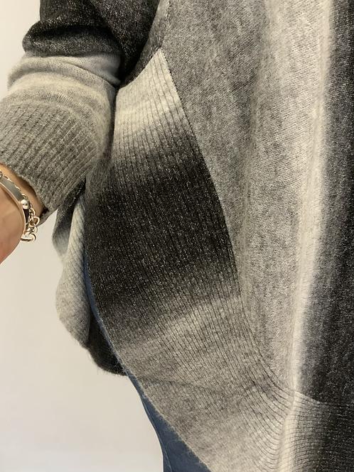 Black,grey smudge roll neck jumper