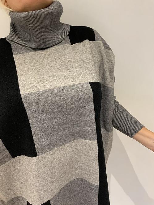 Grey black check roll neck jumper
