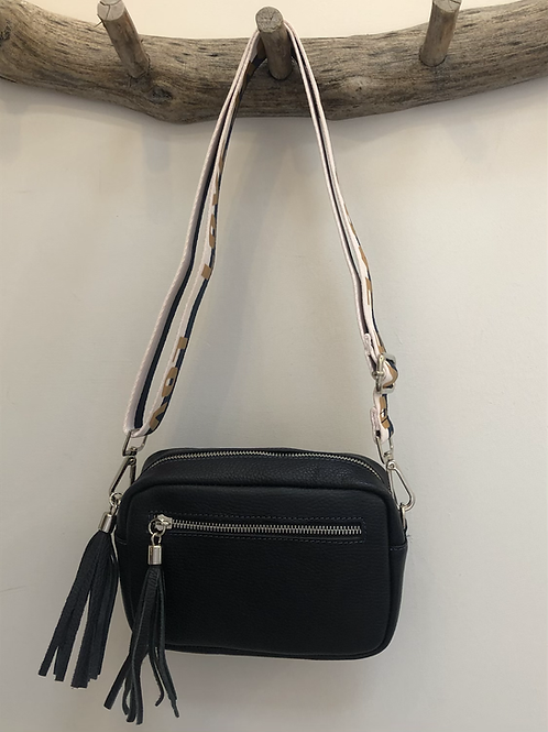 Leather navy bag with love strap