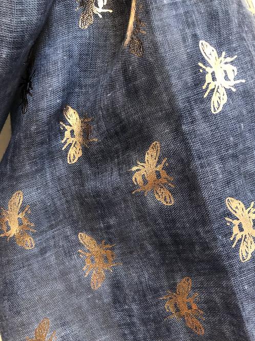 Blue rose foil bee scarf