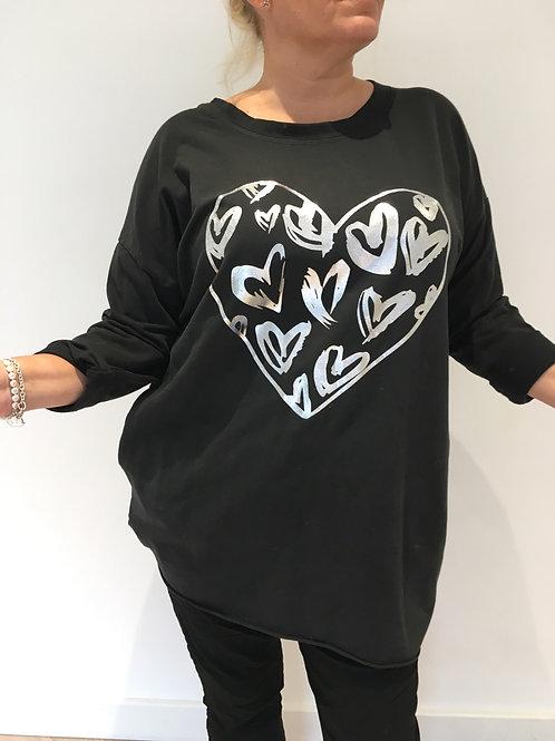 Black foil heart long sweatshirt