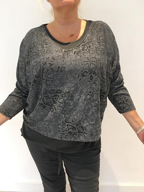 Grey print sweater set