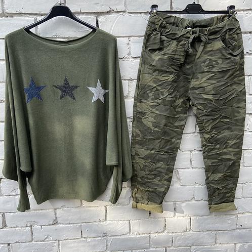 Khaki star soft jumper