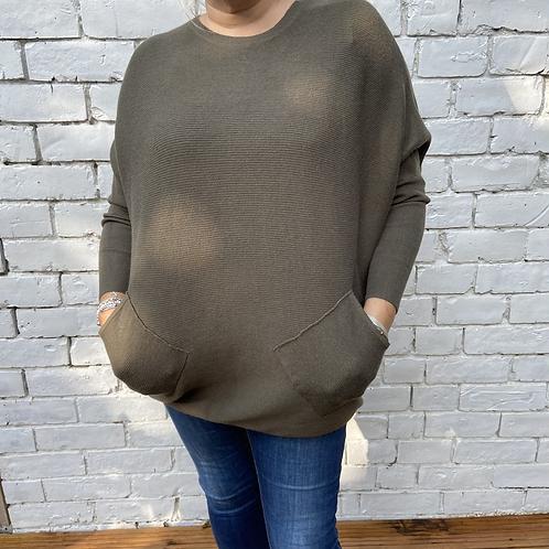 Khaki ribbed plait back jumper