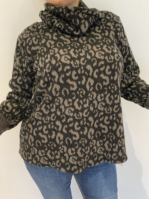 Mocha leopard print soft sweater