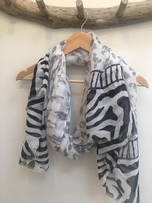 Leopard and zebra print scarf