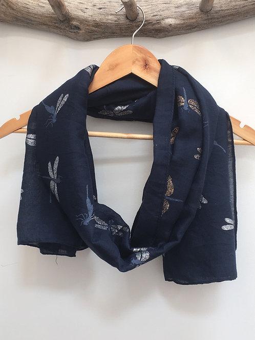Dragon fly navy scarf