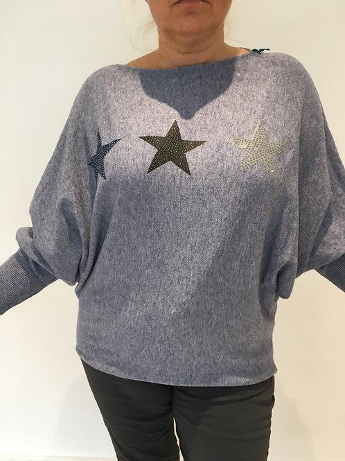 Blue batwing star jumper