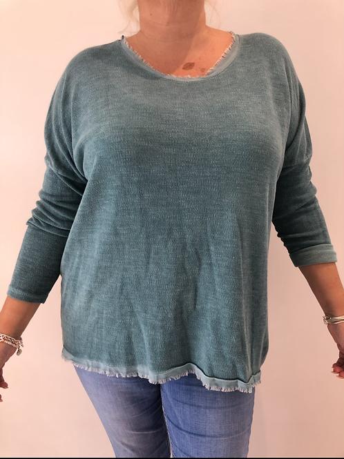Sage fringe sweater