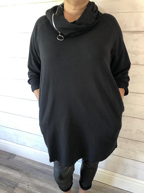 Black zip hood dress