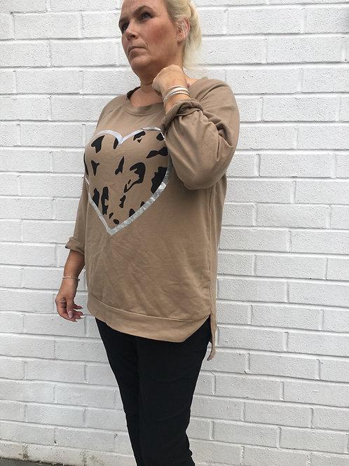 Camel heart sweater