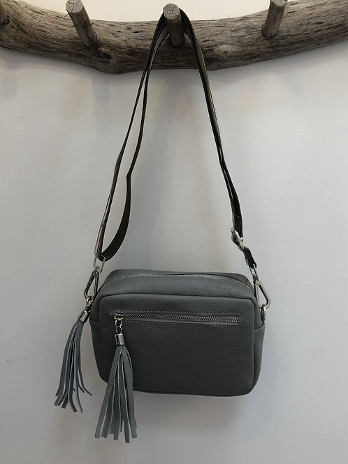Grey leather bag with changeable LOVE strap.