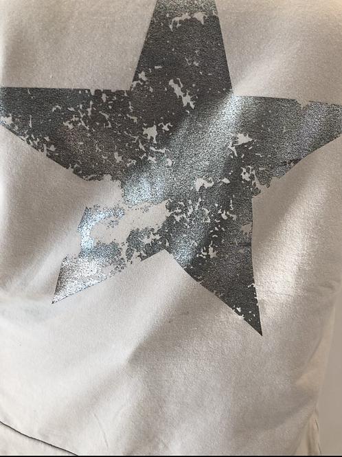 Beige foil heart sweatshirt