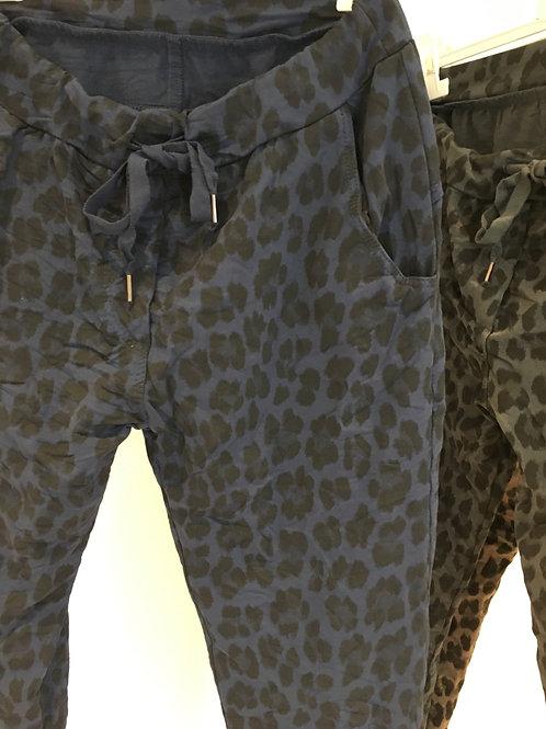 Leopard jersey pants