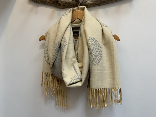 Cream and grey reversible tree of life scarf.