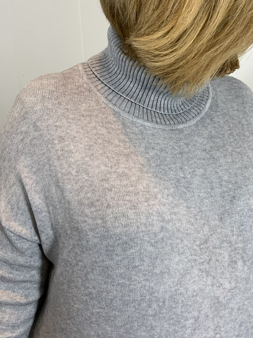 Grey soft roll neck cross over jumper