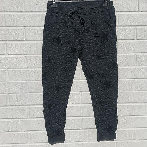 Grey leopard/star magic pants