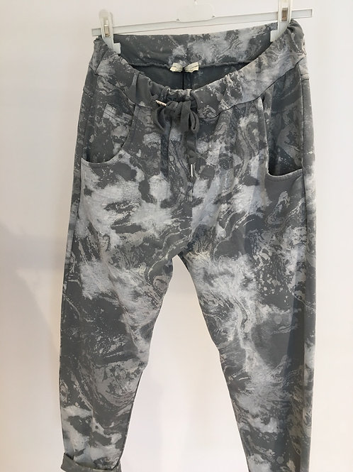 Grey marble print jersey trousers