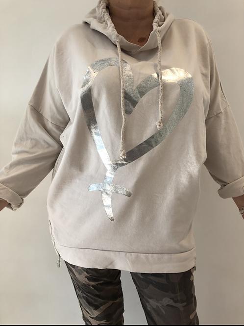 Cream foil heart hoodie