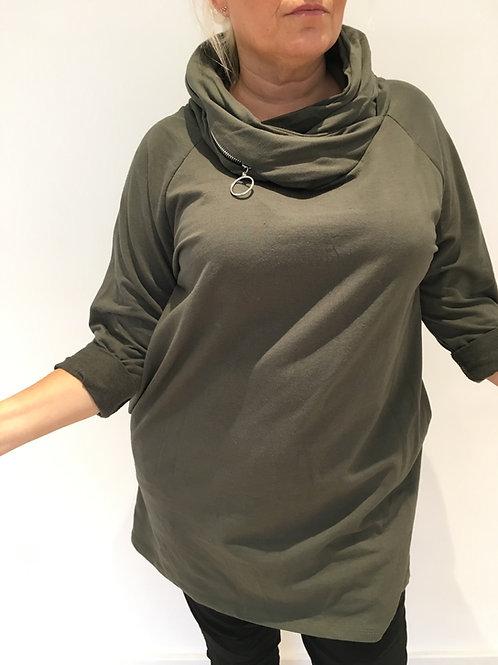 Khaki zip long hoodie