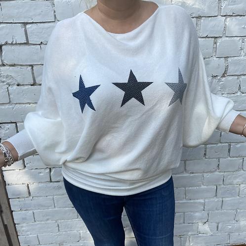 Winter white soft star jumper