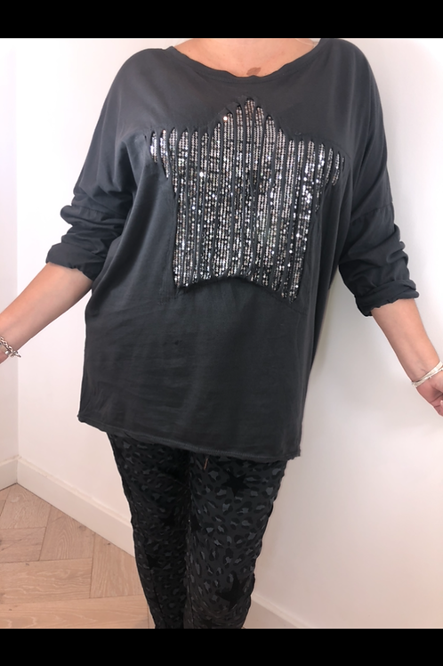 Charcoal ripped star tee