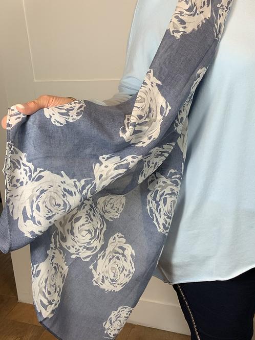 Blue rose print scarf