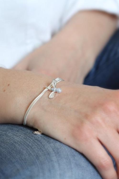 Bee bracelet silver plated by pom