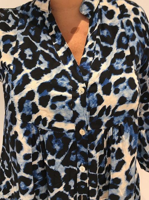 Navy leopard tunic dress