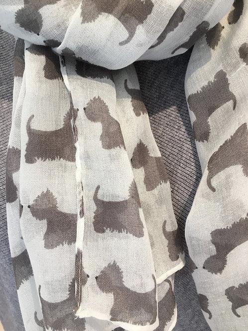 Grey Scottie dog scarf