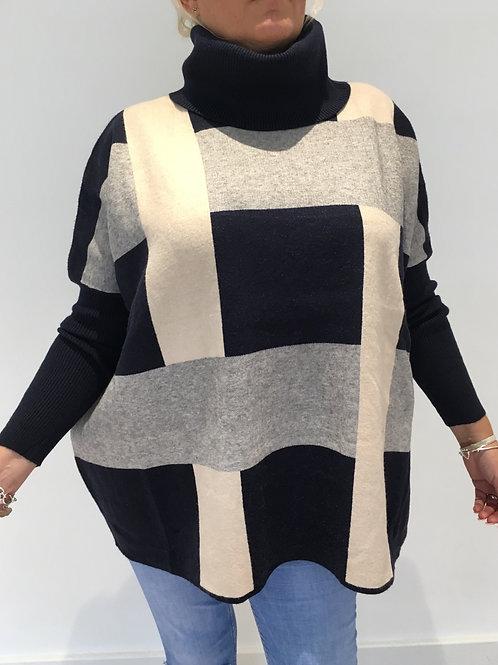 Navy,cream,grey roll neck jumper