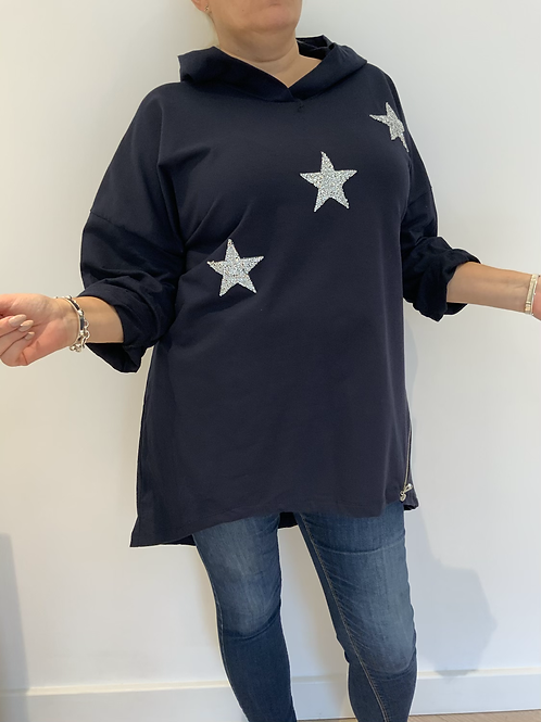Navy star hoodie